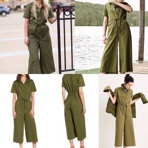 NWT Madewell wide leg utility green jumpsuit